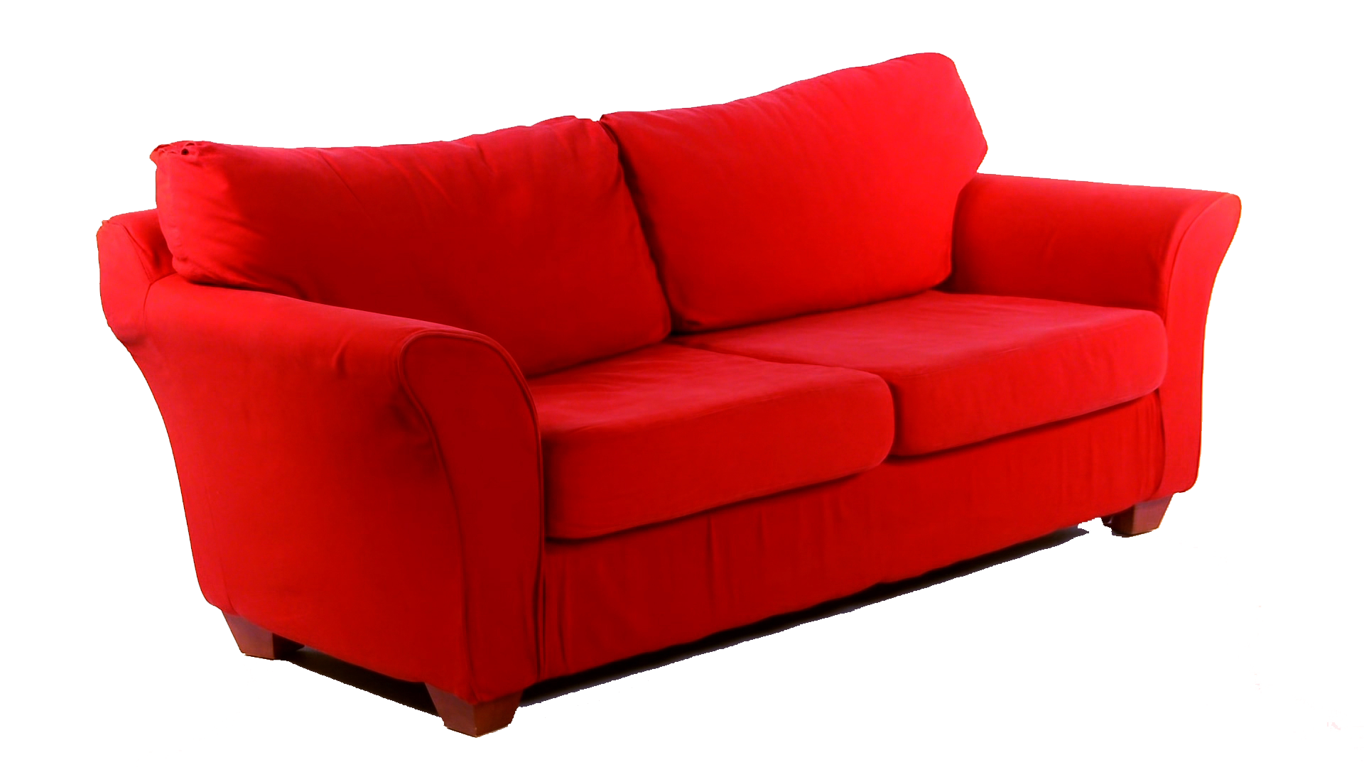This red couch will be making more than a dozen trips around the