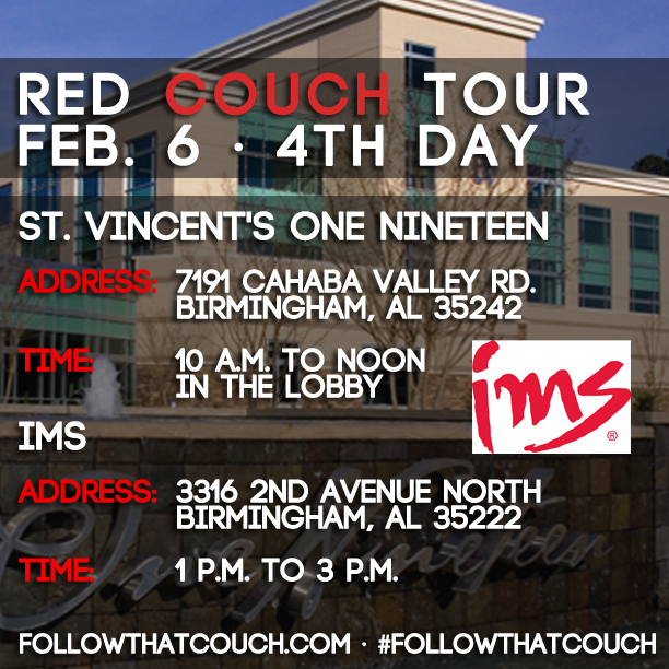 UPDATE on Thursday's #FollowThatCouch tour stops