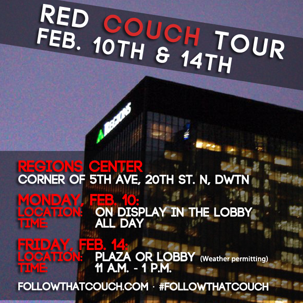 #FollowThatCouch tour shifts to Regions Bank this week