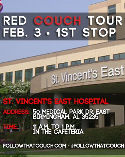 Red Couch tour begins TODAY at St. Vincent's East