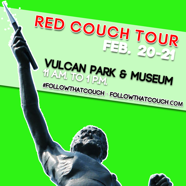 Thursday and Friday...#FollowThatCouch to Vulcan Park!