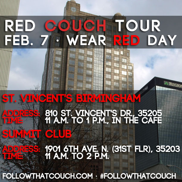 On Wear Red Day, there are two ways to #FollowThatCouch...