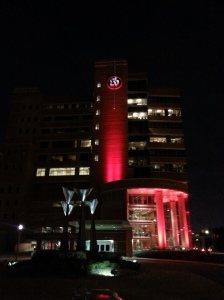 "St. Vincent's Hospital in Birmingham glows red to raise awareness during the American Heart Association's ""Wear Red Day."""